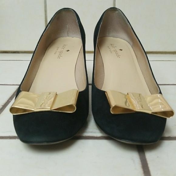 9d30b08775b5 kate spade Shoes - KATE SPADE Black suede heels pumps Gold Bow shoes